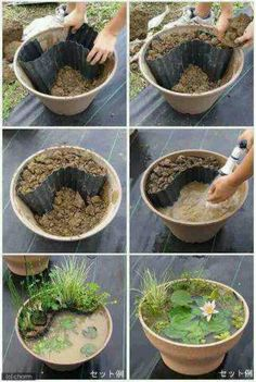Plant pot with pond idea