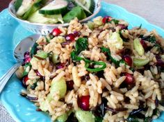 """Christmas Rice"" – Wild Rice with Spinach and Pomegranates"