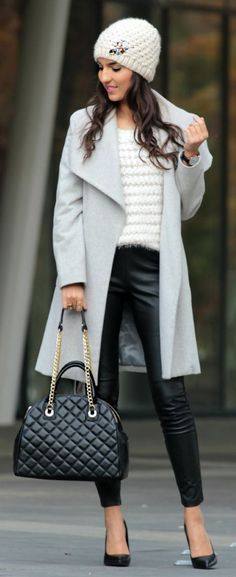 White Embellished Cable Knit Beanie with Grey Long Blazer and Black Leather Skinnies.
