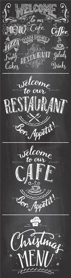 Restaurant and Cafe Chalkboard Printables Set Vector EPS, AI Illustrator. Download here: https://graphicriver.net/item/restaurant-and-cafe-chalkboard-printables-set/13897799?ref=ksioks