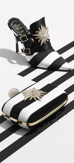 Roger Vivier, black and white accessories, heels, fashion shoes, women's fashion Zapatos Shoes, Shoes Heels, Pumps, Flat Shoes, Black White Fashion, Black White Stripes, Shoe Boots, Shoe Bag, Types Of Shoes