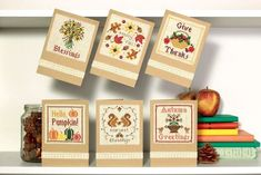 Stitch some spooktacular pumpkin cross stitch cards with this free pattern by Jenny Van De Wiele 🎃 Cross Stitching, Cross Stitch Cards, Cross Stitch Kits, Cross Stitch Designs, Cross Stitch Patterns, Happy Fall, One Design, Pattern Design, Harvest