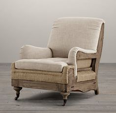 "Deconstructed English Roll Arm Chair...  thinking a finish like this for my ""new"" antique chair..."