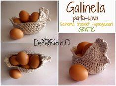 decoriciclo: Gallinella porta-uova all'uncinetto, con schema e spiegazioni