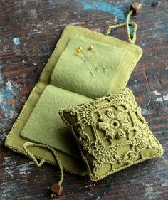 Gift set  linen pincushion and needle book  crocheted by namolio, $39.50