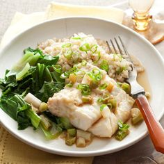 Ginger-Soy Steamed Cod Recipe  Substitute with quinoa  Sauté bok choy Bake Cod over sauce mixture (8 pcs)  Double soy, vinegar, and ginger