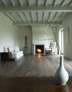 FLOORING!!!! Oh, I can hear it creaking now! LOVE IT!!! Axel Veervoodt Fireplace/Remodelista