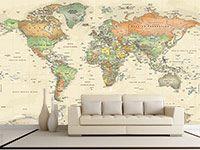 Antique Oceans World Political Map Mural