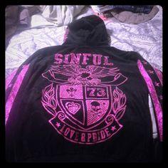 Zip up hoodie. Great sweatshirt or running jacket by Sinful.  Metallic pink/purple details. Super cute. Sinful Tops Sweatshirts & Hoodies
