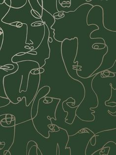 Abstract Faces Wallpaper Green / Gold Holden 12990