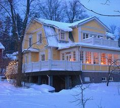 Finnish people value traditions, this is a new house made to look like an old house, Finland Helsinki, Beautiful Buildings, Beautiful Homes, Scandinavian Home, Cottage Homes, House Floor Plans, Old Houses, My Dream Home, My House