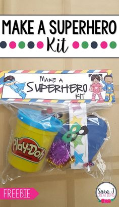 Make a Superhero Kit Make a Superhero kit includes a FREE printable bag topper for you. Add some playdough and decorations and you are ready to make some superheroes. Makes the perfect superhero themed birthday goody bag and fine motor practice. Superhero Party Favors, Superhero Gifts, Superhero Birthday Party, Kid Party Favors, Superhero Party Activities, Superhero Games For Kids, Superhero Preschool, Make Your Own Superhero, Super Hero Activities