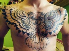 Owl Tattoo For Men On Chest