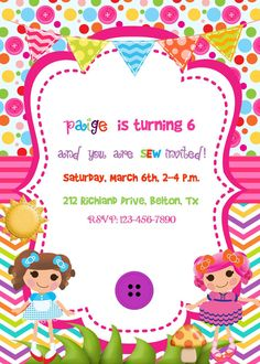 Lalaloopsy party Invitation Birthday Party by Alohapartyprints, Digital Invitations, Birthday Invitations, Birthday Banners, Invitation Ideas, Farm Birthday, 1st Birthday Parties, Hungry Caterpillar Party, Lalaloopsy Party, Bug Crafts