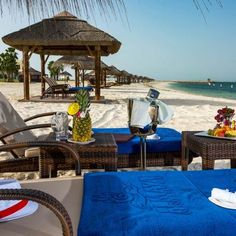 Al Maya Island Thatched Beach Cabanas and Umbrellas Beach Cabana, The Perfect Getaway, Island Resort, Wanderlust Travel, Abu Dhabi, Umbrellas, Maya, Beds, Patio