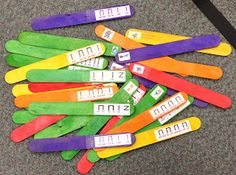 Teaching Elementary Music: Build sol-mi-la songs that children know. Put 4 beat phrases on sticks. Use color-coded sticks for the different songs and let students work in groups to put sticks in the correct order to reconstruct the song.