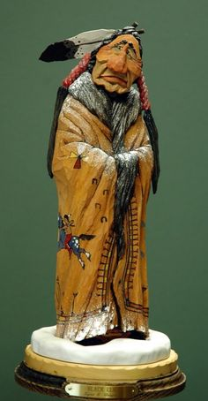 Wood-Carved Native American - Unknown Artist