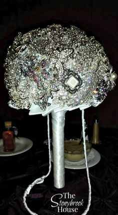 Brooch Bouquet Complete on Wedding Day Brooch Bouquet Tutorial, Wedding Brooch Bouquets, Flower Bouquet Wedding, Bling Bouquet, Wedding Flower Guide, Wedding Ideas, Wedding Goals, Bling Wedding, Do It Yourself Home