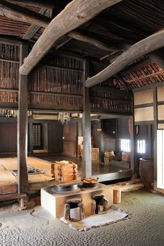 Minka-en-interior of an old farmhouse-Japan