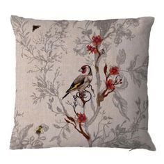 Timorous Beasties Birds N Bees Cushion 4: A beautiful collection of unusual cushions printed on Linen by Timorous Beasties.   -Cushions are 47.5cm x 47.5cm in size  -Available with 3 different prints -Part of the exciting Ruskin collection from Timorous Beasties