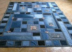 Interesting DIY carpet ideas from old jeans Interesting DIY carpet i. Interesting DIY carpet ideas from old jeans Interesting DIY carpet ideas from old jeans Patchwork Jeans, Denim Quilts, Artisanats Denim, Denim Rug, Denim Purse, Denim Quilt Patterns, Bag Patterns, Blue Jean Quilts, Diy Carpet