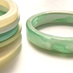 skinny bangle white and mint green от ShoutAndSparkle на Etsy
