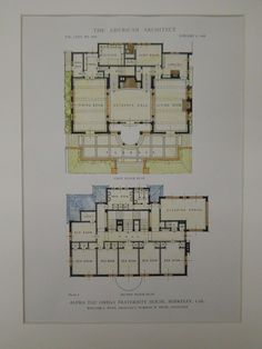 Floor Plans, Alpha Tau Omega Fraternity House, Berkeley, CA, 1918, Original Plan. William C. Hays.