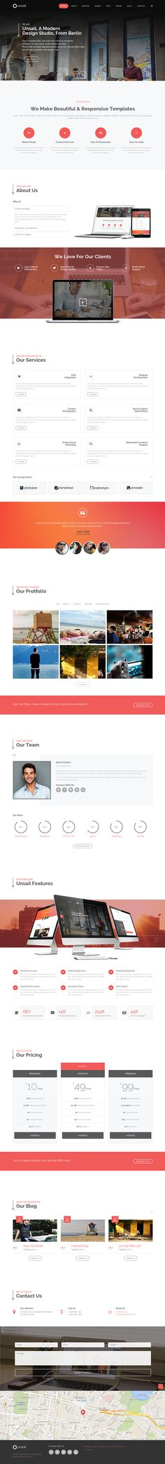 Unsail One Page WordPress Parallax Theme on Behance