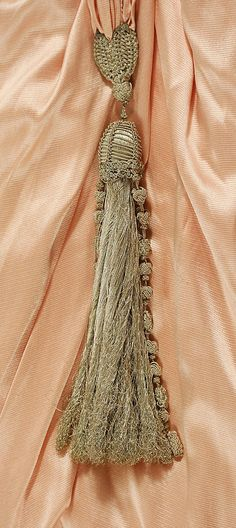 Afternoon dress (detail) Weeks (French) Date: ca. 1918 Culture: French Medium: silk, fur, metal Dimensions: Length at Side Seam: 51 in. Tassel Curtains, Glands, Peach And Green, Passementerie, Just Peachy, Peach Colors, Vintage Dresses, Tassels, Feminine