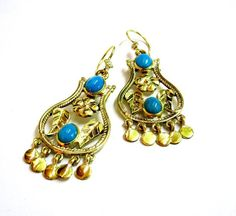 Gilded Copper Earrings Embellished with Turquoise (By: Dina Maghawry)