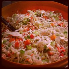 Cabbage Salad -6 c shredded cabbage,1 c shredded carrot,1 c chopped green bell pepper,1/2 c chopped green onion,1/2 cup sugar,1/2 c white wine vinegar, 2 TBS olive oil, 1 tsp dry mustard,1/2 tsp celery seeds, 1/2 tsp salt.  Combine salad in large bowl; toss well. Combine sugar and remaining ingredients in a small bowl, stirring with a whisk. Pour vinegar mixture over cabbage mixture, tossing gently to combine. Cover; chill 1 hour.