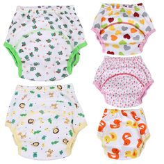 Baby Nappies Infant Breathable Soft Cotton Diaper Pants Reusable Floral Printed Baby Nappy Changing 0 to 24 Months
