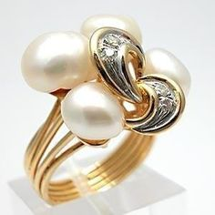 This bold cocktail ring is crafted of solid yellow gold and features four cultured baroque pearls and genuine natural diamond accents. Pearl Jewelry, Jewelry Rings, Fine Jewelry, Pearl Rings, Jewlery, Pearl Diamond, Diamond Rings, Love Ring, Baroque Pearls