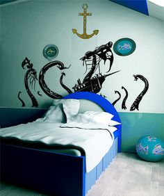 Vinyl Wall Decal Sticker Pirate Ships attacked by Kracken #GFoster166 | Stickerbrand wall art decals, wall graphics and wall murals.