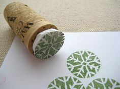 Cork stamping--create stamp form styrofoam and glue to cork. Repinned by www.mygrowingtraditions.com