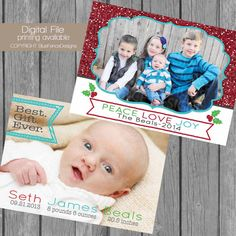 Birth Announcement Photo Christmas Card, religious, customized, multiple sizes available, holiday card, teal, red, christmas tree,  digital,