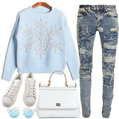 284 by the-backhouse on Polyvore featuring moda, Yves Saint Laurent, adidas, Dolce&Gabbana, Christian Dior, Blue, Dior, Sweater, sweaterweather and blinddate