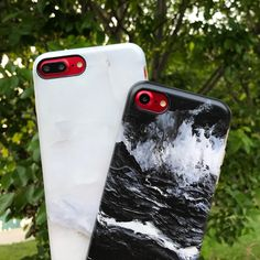 For anyone going red ❤️ Ivory White & Black Marble Case for iPhone 7 & iPhone 7 Plus from Elemental Cases. Shown on Product Red iPhone 7 & 7 Plus