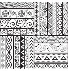 Tribal striped hand drawn seamless pattern vector art - Download ...