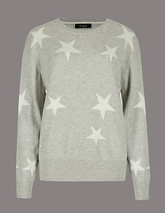 Buy the Pure Cashmere Star Print Round Neck Jumper from Marks and Spencer s  range. Fashion Direction Personal Shopper db506ab21f293