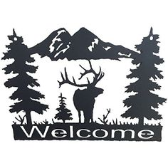 Original Metal Art Wildlife Welcome Signs  Western Style Home Decor  Wall Accessory Elk ** Click image to review more details.