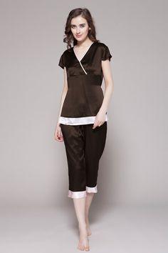 Girls silk pajamas set with white cuffs Satin Sleepwear, Satin Pajamas, Nightwear, Couple Pajamas, Mix Match Outfits, Womens Pjs, Stylish Outfits, Fashion Outfits, Plus Size Lingerie