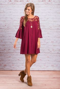 """""""True Intentions Dress, Wine""""This wine dress is stunning! All that sheer crochet across the top is nothing short of perfection! The bell sleeves are a fab addition to the style of this dress too!  #Newarrivals #shopthemint"""