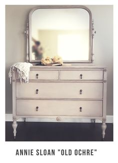 "Antique dresser with mirror refinished with Annie Sloan Chalk paint in ""Old Ochre"" followed by clear wax and dark wax."