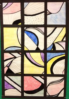 """I am thinking MS:  Have them pick a seashell (or some other natural object) draw it up close, Sharpie stressing thick and thin lines, watercolor paint primary colors, cut into 4"""" x 4"""" sections, remount."""