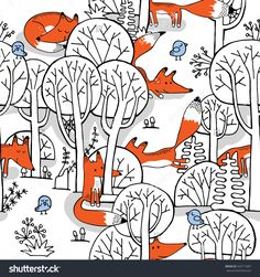 Seamless pattern with image of a little fox in a forest on gray background. Forest Illustration, Cute Illustration, Art Fox, Bird Painting Acrylic, Fox Pattern, Vector Pattern, Baby Drawing, Little Fox, Pattern Images