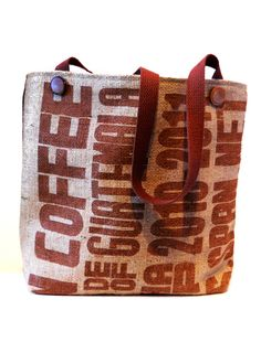 Recycled Coffee Sack Tote Bag by Ballokai on Etsy, $42.00