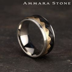 """The """"Saw tooth"""" design in this comfort fit multi-material band is a true testament to the Ammara Stone mantra of """"breaking the barriers of traditional ring design"""". Gold Wedding Rings, Bridal Rings, Wedding Ring Bands, Wedding Jewelry, Bling Wedding, Unique Mens Wedding Bands, Aquamarin Ring, Tiara Ring, Men Rings"""