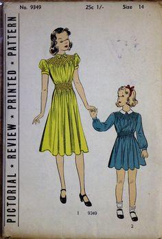 1920s-30s Sewing pattern - Pictorial Review #supplies @EtsyMktgTool #vintagepattern #size14 #smockedshoulders #smockedwaistline