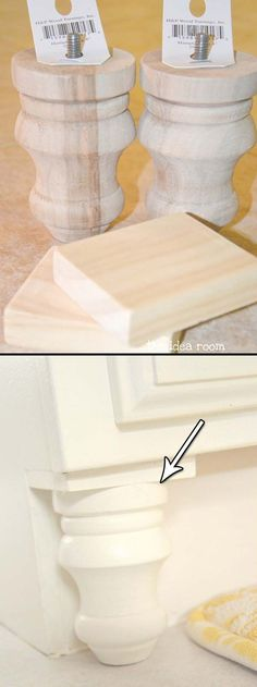 2. Adding a couple of the finial wood accents to the bathroom cabinet will make it look a bit more upscale.